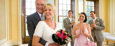 older bride and groom at wedding